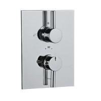 Florentine термостат для ванны/ душа в комплекте со встраиваемым механизмом/частями для наружного/ скрытого монтажа, со встроенной защитой от обратного потока, хромированная поверхность, стопор безопасности при 38', эргономичная кнопка (FLR-CHR-5671)